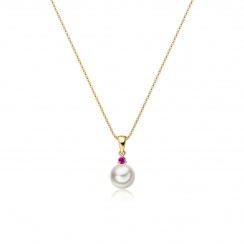 Akoya Pearl and Ruby Pendant in Yellow Gold-2