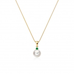 Akoya Pearl and Emerald Pendant in Yellow Gold-2