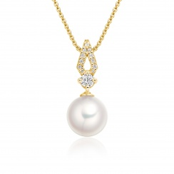 Zigzag Diamond and Akoya Pearl Pendant in Yellow Gold-APWRYG1117-1