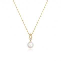Zigzag Diamond and Akoya Pearl Pendant in Yellow Gold-APWRYG1117 -2