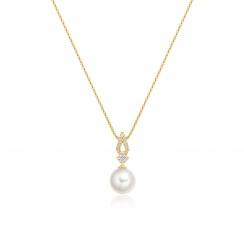 Zigzag Diamond and Akoya Pearl Pendant in Yellow Gold-APWRYG1117 -2