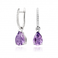 Classic Leverbacks with Mythologie Amethyst Drops in White Gold-EAAMWG1106-1