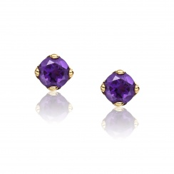Lief Amethyst Earrings in Yellow Gold with Tahitian Pearls-TEGRAM0475-2