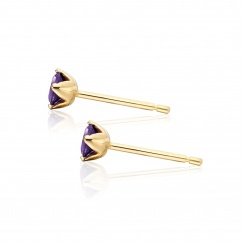 Lief Amethyst Studs in Yellow Gold-EAAMYG0426-2