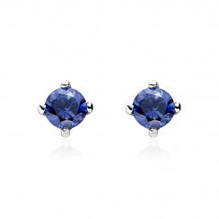 Blue Sapphire Stud Earrings in White Gold with Akoya Pearls-2