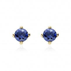 Blue Sapphire Stud Earrings in 18 Carat Yellow Gold-1