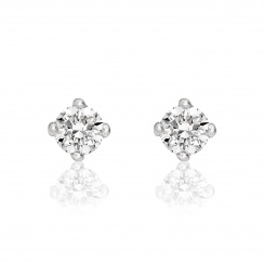 Diamond Studs in White Gold with White Freshwater Pearls-FEWDWG0489-2