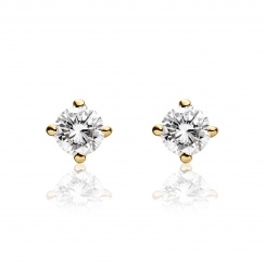 Diamond Studs in Yellow Gold with White Freshwater Pearls-FEWDYG0491-2