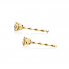 Diamond Studs in Yellow Gold with White Freshwater Pearls-FEWDYG0491-3