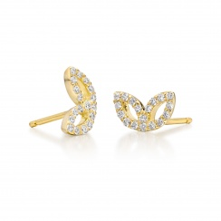 Enchanted Diamond Studs in Yellow Gold with Freshwater Pearls-FEWDYG0479-2