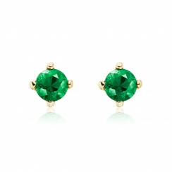 Emerald Studs in Yellow Gold with Akoya Pearls-AEWREM1312-2