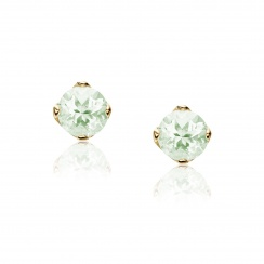 Lief Green Beryl Earrings in Yellow Gold with Freshwater Pearls-FEWDGB0476-2