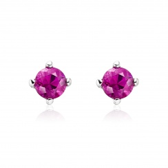 Pink Ruby Stud Earrings in White Gold with Akoya Pearls-2