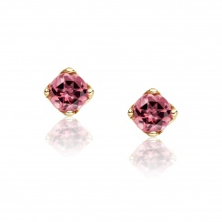 Lief Pink Tourmaline Earrings in Yellow Gold with Akoya Pearls-AEWRPT0466-2