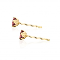 Lief Pink Tourmaline Earrings in Yellow Gold with Akoya Pearls-AEWRPT0466-3