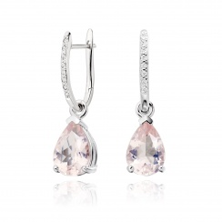 Classic Leverbacks with Mythologie Rose Quartz Drops in White Gold-EARQWG1109-1