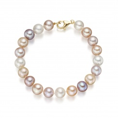 Multi-coloured Freshwater Pearl Necklace and Bracelet Set-SETSFM0159-2