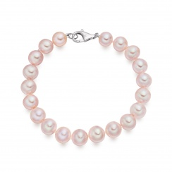 Pink Freshwater Pearl Bracelet with 18ct Gold Clasp-2