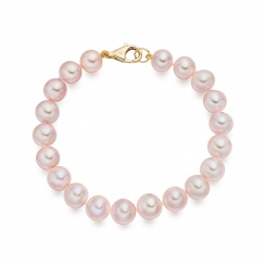 Pink Freshwater Pearl Bracelet with 18ct Gold Clasp-1