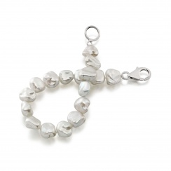 White Keshi Freshwater Pearl Bracelet with Sterling Silver-2