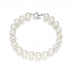 Large White Freshwater Pearl Bracelet with 18ct Gold Clasp-2