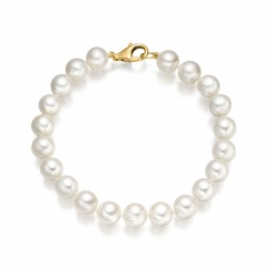 The Classic White Freshwater Pearl Bracelet with 18ct Gold Clasp-2