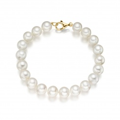 Large White Freshwater Pearl Bracelet with 18ct Gold Clasp-1