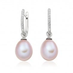 White Gold Diamond Leverback And Pink Freshwater Pearl Earrings-1