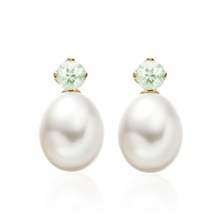Lief Green Beryl Earrings in Yellow Gold with Freshwater Pearls-FEWDGB0476-1