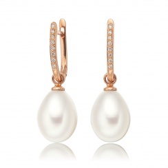 Rose Gold Diamond Leverbacks with White Freshwater Pearls-FEWDRG0274-1