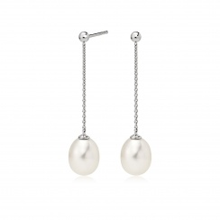 Freshwater Pearl Constellation Earrings in White Gold-FEWDWG1223-1