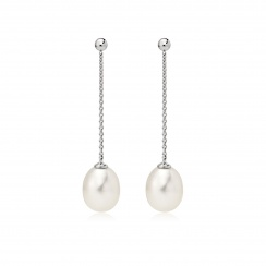 Freshwater Pearl Constellation Earrings in White Gold-FEWDWG1223-2