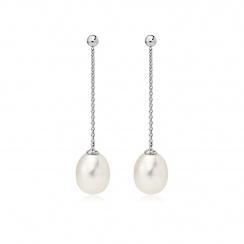 Freshwater Pearl Constellation Earrings in White Gold-FEWDWG1223-2