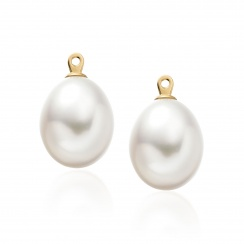 Enchanted Diamond Studs in Yellow Gold with Freshwater Pearls-FEWDYG0479-3