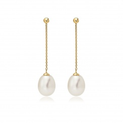 Freshwater Pearl Constellation Earrings in Yellow Gold-FEWDYG1224-2