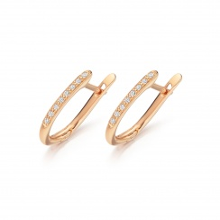 Rose Gold Diamond Leverbacks with White Freshwater Pearls-FEWDRG0274-2
