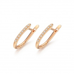 Rose Gold Diamond Leverbacks with Mythologie Red Garnet Drops-EARGRG1315-2