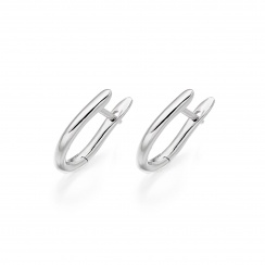 White Gold Huggie Earrings with White Freshwater Pearls-FEWDWG1247-2