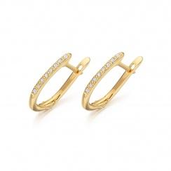Yellow Gold Diamond Leverbacks with Mythologie White Topaz Drops-EAWTYG1277-2
