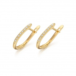 Yellow Gold Diamond Leverbacks with Akoya Pearls-AEWRYG0271-2