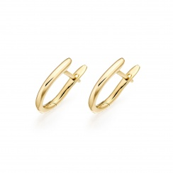 Yellow Gold Huggie Earrings with Akoya Pearls-AEWRYG1249-2