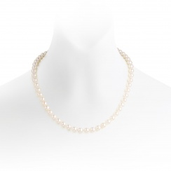 White Freshwater Pearl Necklace with Silver or 18ct Gold Clasp-FNVAR006100710355-1