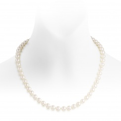 Pearl Wedding Necklace and Earrings Set in White Gold-SETSFW0158-1