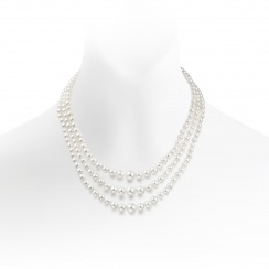 Triple Strand Freshwater Pearl Necklace with Diamond Clasp-FNWRWG0094-1