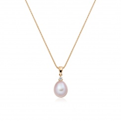 Pink Freshwater Drop Pearl and Diamond Pendant with Rose Gold Chain-FPPDRG1132-2