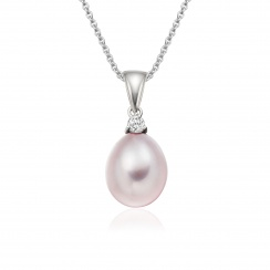 Pink Freshwater Drop Pearl and Diamond Pendant with 18ct White Gold-FPPDWG1134-1