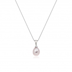 Pink Freshwater Drop Pearl and Diamond Pendant with 18ct White Gold-FPPDWG1134-2