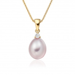Pink Freshwater Drop Pearl and Diamond Pendant with 18ct Yellow Gold-FPPDYG1136-1