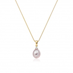 Pink Freshwater Drop Pearl and Diamond Pendant with 18ct Yellow Gold-FPPDYG1136-2
