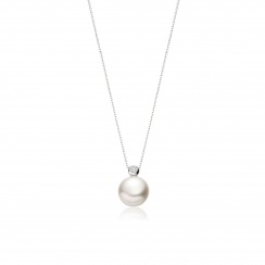 White Button Freshwater Pearl and Diamond Pendant with 18ct Gold-White Button Freshwater Pearl and Diamond Pendant with 18ct Gold-FPWBWG0103-2
